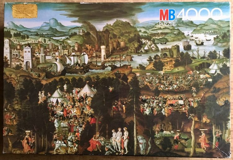 Image of the puzzle 4000, MB, The Judgement of Paris and Destruction of Troy, Sealed Bag, Picture of the box