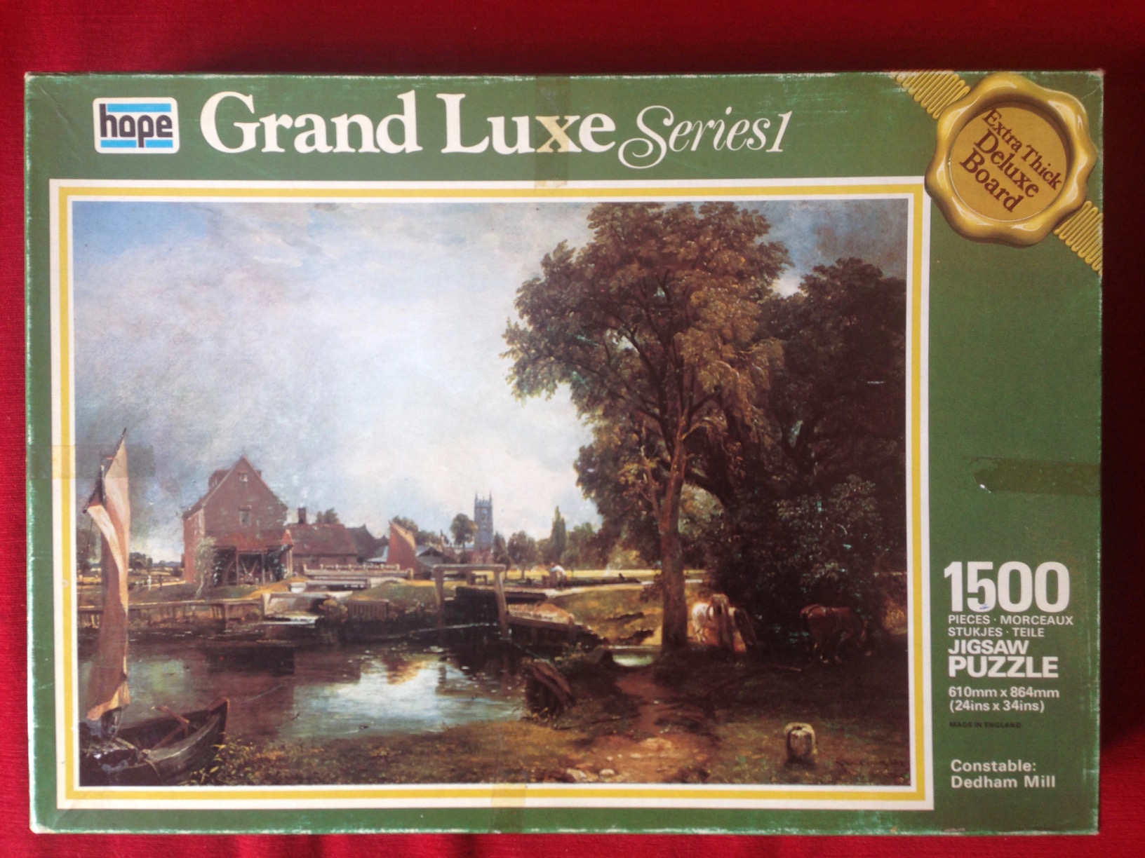 Image of the puzzle 1500, Hope, Dedham Mill, John Constable, Complete, Picture of the box