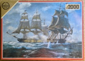 "Image of the puzzle 2000, Falcon, Action between US Frigate ""Constitution"" and British Frigate HMS ""Java"" , John Stevens Dews, Factory Sealed"
