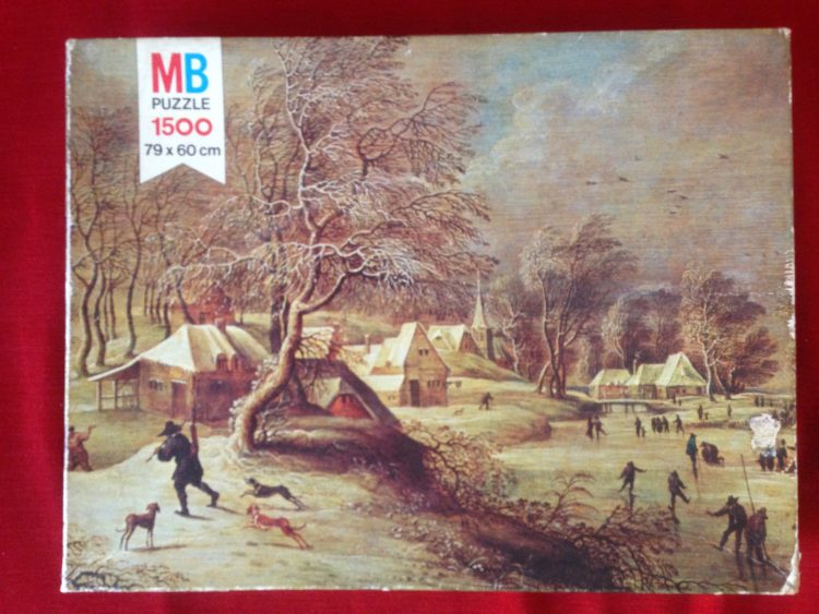 Image of the puzzle 1500, MB, Village in the Snow, David Teniers the Elder, Complete, Picture of the Box
