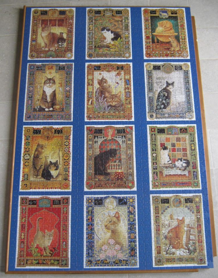 Image of the puzzle 1500, Jumbo, Star Sign Cats, Lesley Anne Ivory, Complete, Picture of the puzzle assembled