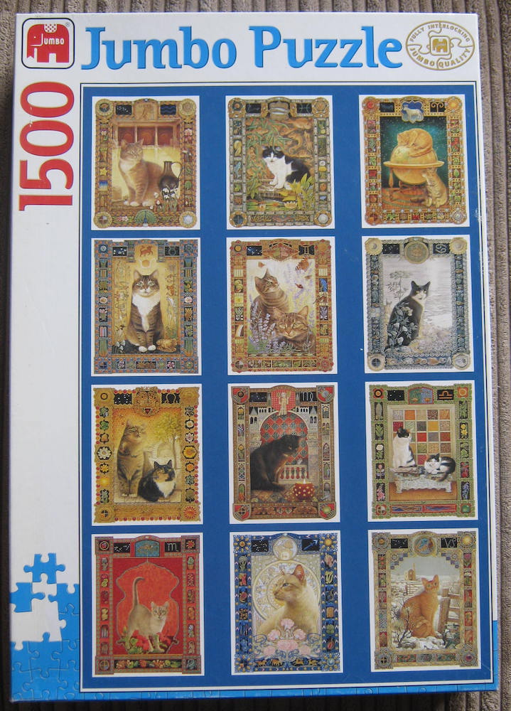 Image of the puzzle 1500, Jumbo, Star Sign Cats, Lesley Anne Ivory, Complete, Picture of the box