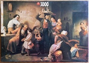 Image of the puzzle 3000, Jumbo, The Image Peddler, Francis William Edmonds, Complete, Picture of the box