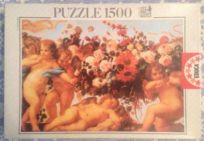 Image of the puzzle 1500, Educa, Angels in Garlands of Flowers, Carlo Maratti, Complete, Picture of the box