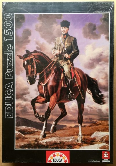"Image of the puzzle 1500, Educa, Ghazi Mustafa Kemal with his horse named ""Sakarya"", Unknown Artist"