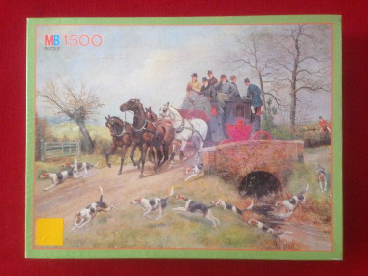 Image of the Puzzle 1500, MB, A Coach with Four Crossing a Bridge, George Derville Rowlandson, Picture of the Box