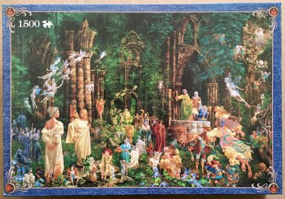 Image of the puzzle 1500, Jumbo, Court of the Fairies, by James Christensen, Complete, Picrure of the box