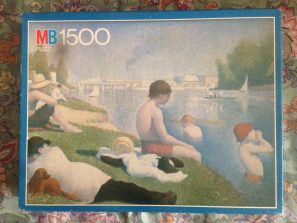 Image of the puzzle 1500, MB, Bathers at Asnières, by Georges Seurat, Complete, Picture of the box