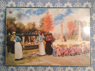 Image of the puzzle 1500, Jumbo, Going for a Walk, Complete, Timoléon Marie Lobrichon, Complete, Picture of the Box