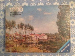 Image of the puzzle 1000, Ravensburger, The Bank of Loing near Moret, Alfred Sisley, Complete, Picture of the box