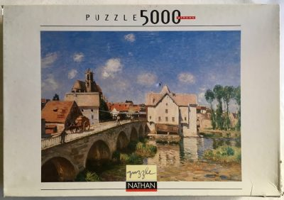 Image of the puzzle 5000, Nathan, The Bridge at Moret, by Alfred Sisley, Sealed Bag, Picture of the box