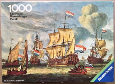 Image of the puzzle 1000, Ravensburger, Frigate in the Port of Amsterdam, by Abraham Storck, Complete, Picture of the box