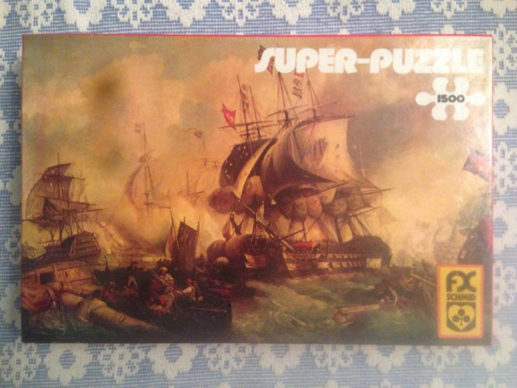 Image of the puzzle 1500, F.X. Schmid, The Battle of Trafalgar, by William E. D. Stuart, Picture of the box