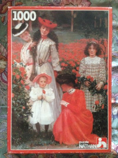 Image of the puzzle 1000, Nathan, Family with Dahlias, by Albert Herter, Complete, Picture of the box