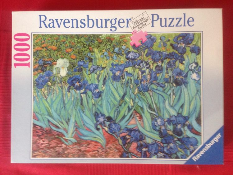 Image of the puzzle 1000, Ravensburger, Irises, by Vincent Van Gogh, Complete, Picture of the box