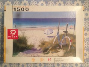 Image of the puzzle 1500, Druon, The Blue Bicycle, by Henri Deuil, Complete, Picture of the box