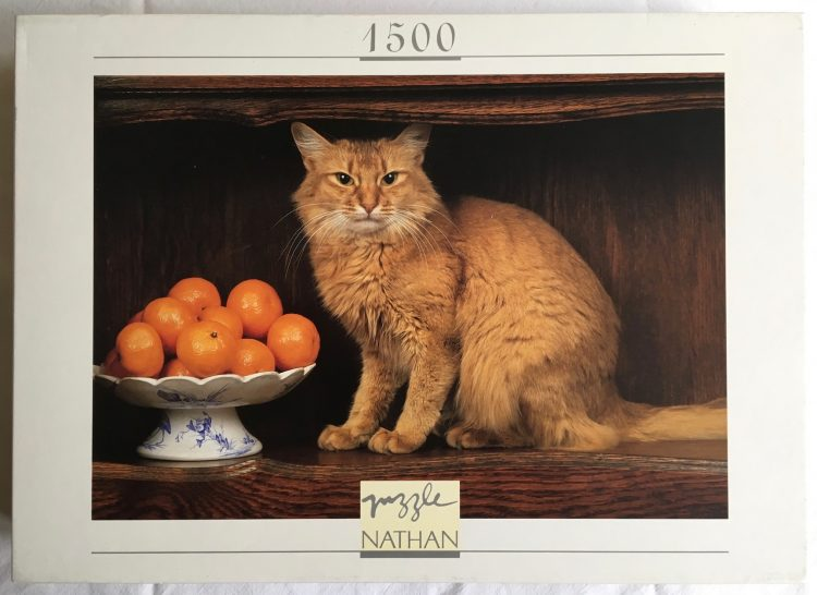Image of the puzzle 1500, Nathan, A Cat with Oranges, Sealed Bag