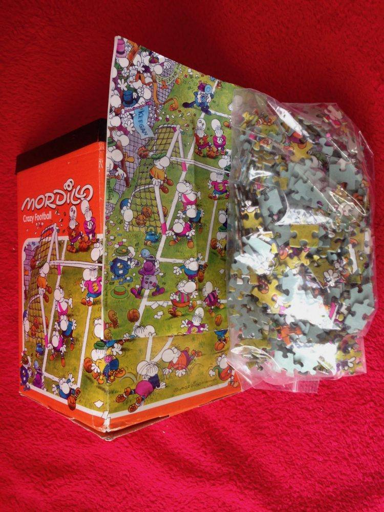 Image of the puzzle 500, Heye, Crazy Football, Guillermo Mordillo, Complete, Picture of the bag