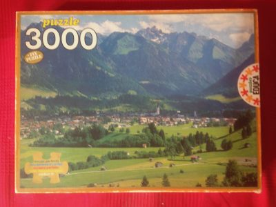 Image of the puzzle 3000, Educa, Alpine Valley, Complete, Picture of the box