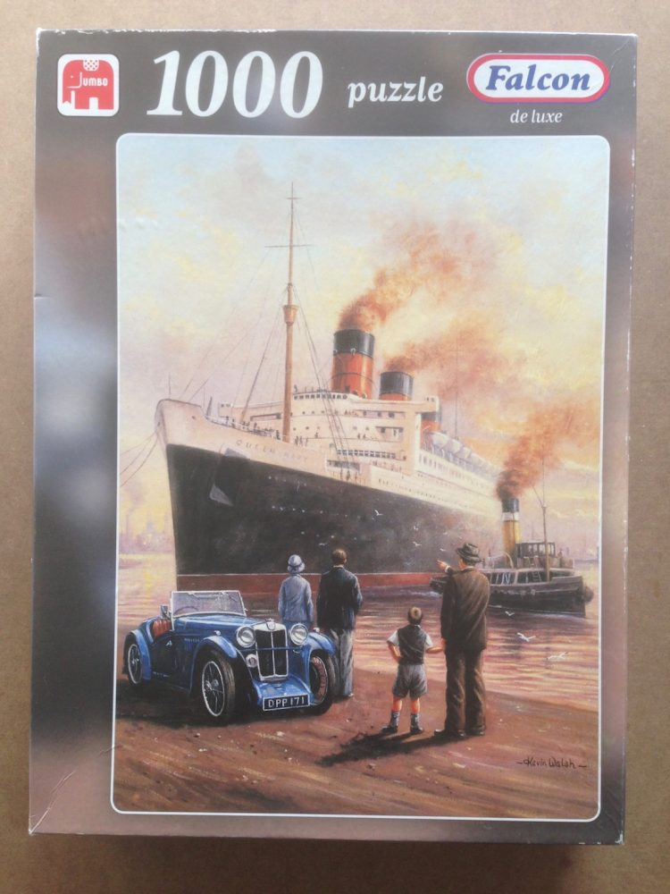 Image of the puzzle 1000, Falcon, Queen Mary, Evening Departure, by Kevin Walsh, Complete, Picture of the Box