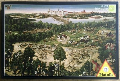 Image of the puzzle 1000, Piatnik, Stag Hunt of the Elector John Frederick of Saxony, by Lucas Cranach the Younger, Complete, Picture of the box