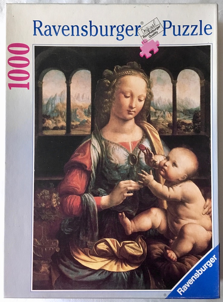 Image of the puzzle 1000, Ravensburger, Madonna of the Carnation, Leonardo da Vinci, Complete, Picture of the box