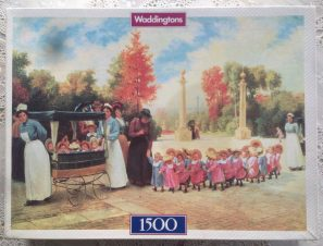 Image of the puzzle 1500, Waddingtons, Going for a Walk, Complete, Picture of the box