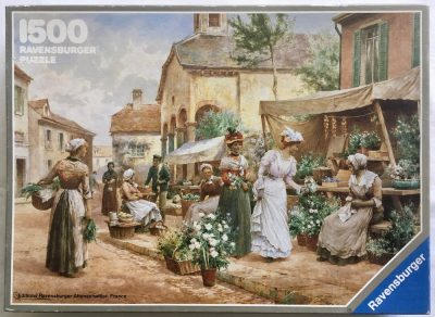 Image of the puzzle 1500, Ravensburger, French Flower Market, by Alfred Glendening Jr., Picture of the box