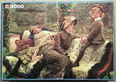 Image of the puzzle 3000, Jumbo, The Garden Bench, by James Tissot, Complete, Piture of the box