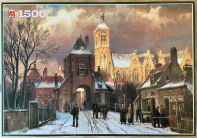 Image of the puzzle 1500, Jumbo, Dutch Town in Winter, by Hermanus Koekkoek, Complete, Picture of the box