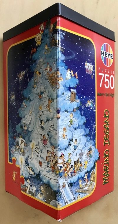 Image of the puzzle 750, Heye, Merry Ski Night, by Marino Degano, Complete, Picture of the box