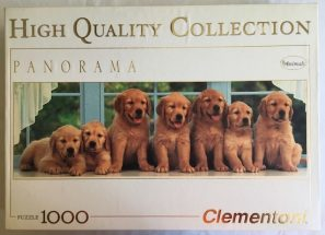 Image of the Puzzle 1000, Clementoni, All in a Row, Complete, Image of the box with puppies