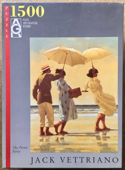 Image of the puzze 1500, Ricordi, The Picnic Party, by Jack Vettriano, Sealed Bag, Picture of the box