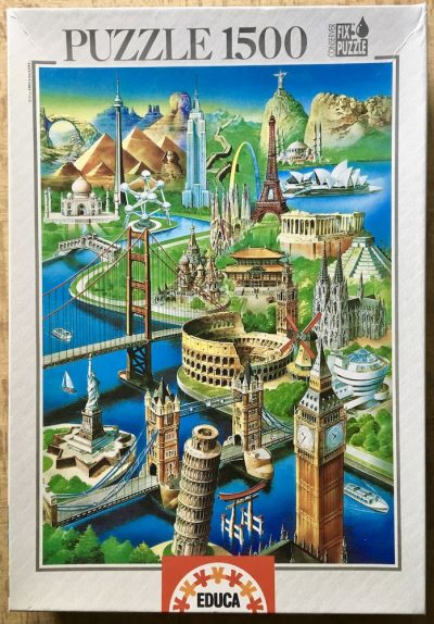 Image of the puzzle 1500, Educa, Wonders of the World, Sealed Bag, Picture of the box