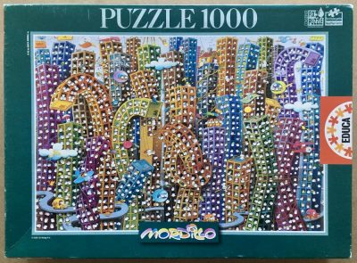 Image of the puzzle 1000, Educa, Concrete Jungle, by Guillermo Mordillo, Sealed Bag, Picture of the box