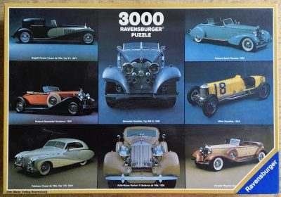Image of the puzzle 3000, Ravensburger, Collage from Old Timers, Picture of the box