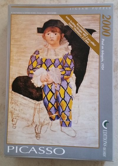 Image of the puzzle 2000, Ricordi, Paul as Harlequin, Picasso, Complete, Picture of the box