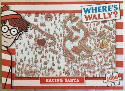 Image of the puzzle 1000, Classic Media, Wheres Wally?, Racing Santa, by Martin Handford, Picture of the box