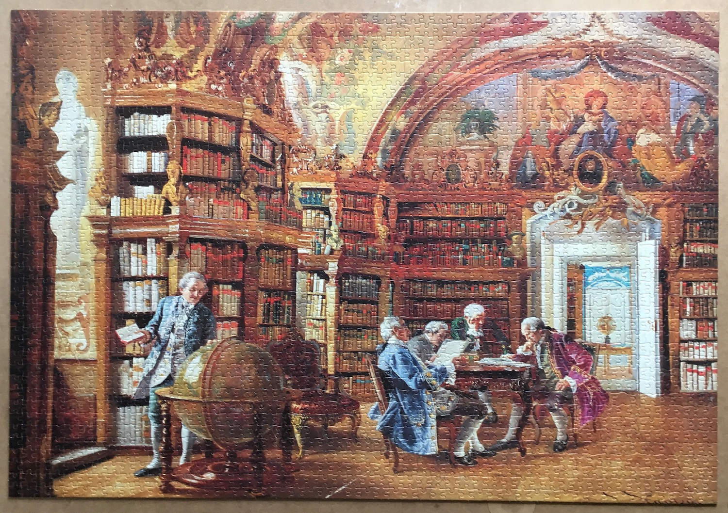Image of the Assembled Puzzle 2000, Jumbo, In the Library, Johann Hamza