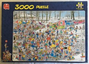 Image of the puzzle 3000, Jumbo, On Thin Ice, by Jan van Haasteren, Complete, Picture of the box