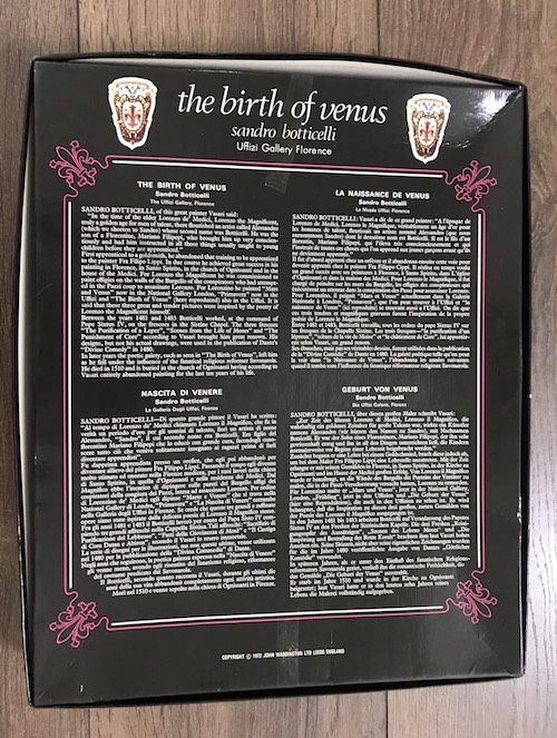 Image of the Puzzle 450, Waddington, The Birth of Venus, Complete, Picture of the Back of the box