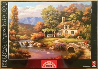 Image of the puzzle 8000, Educa, Cottage Stream, by Sung Kim, Factory Sealed, Listed by Jorge
