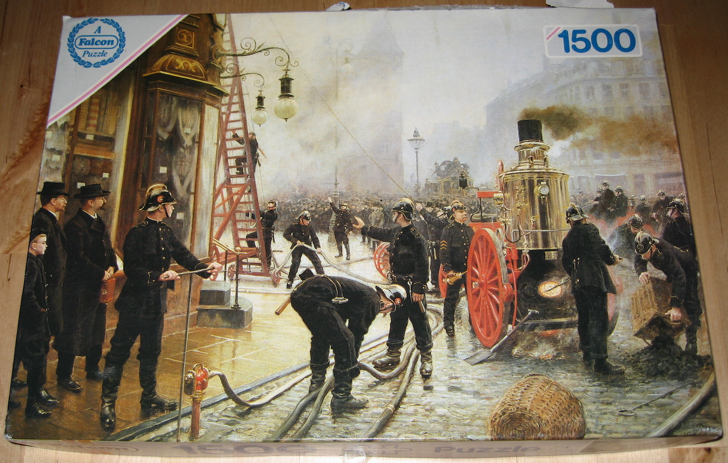 Image of the Puzzle 1500, Falcon, The Fire Brigade Turn Out in Kultorvet, Copenhagen, Picture of the Box