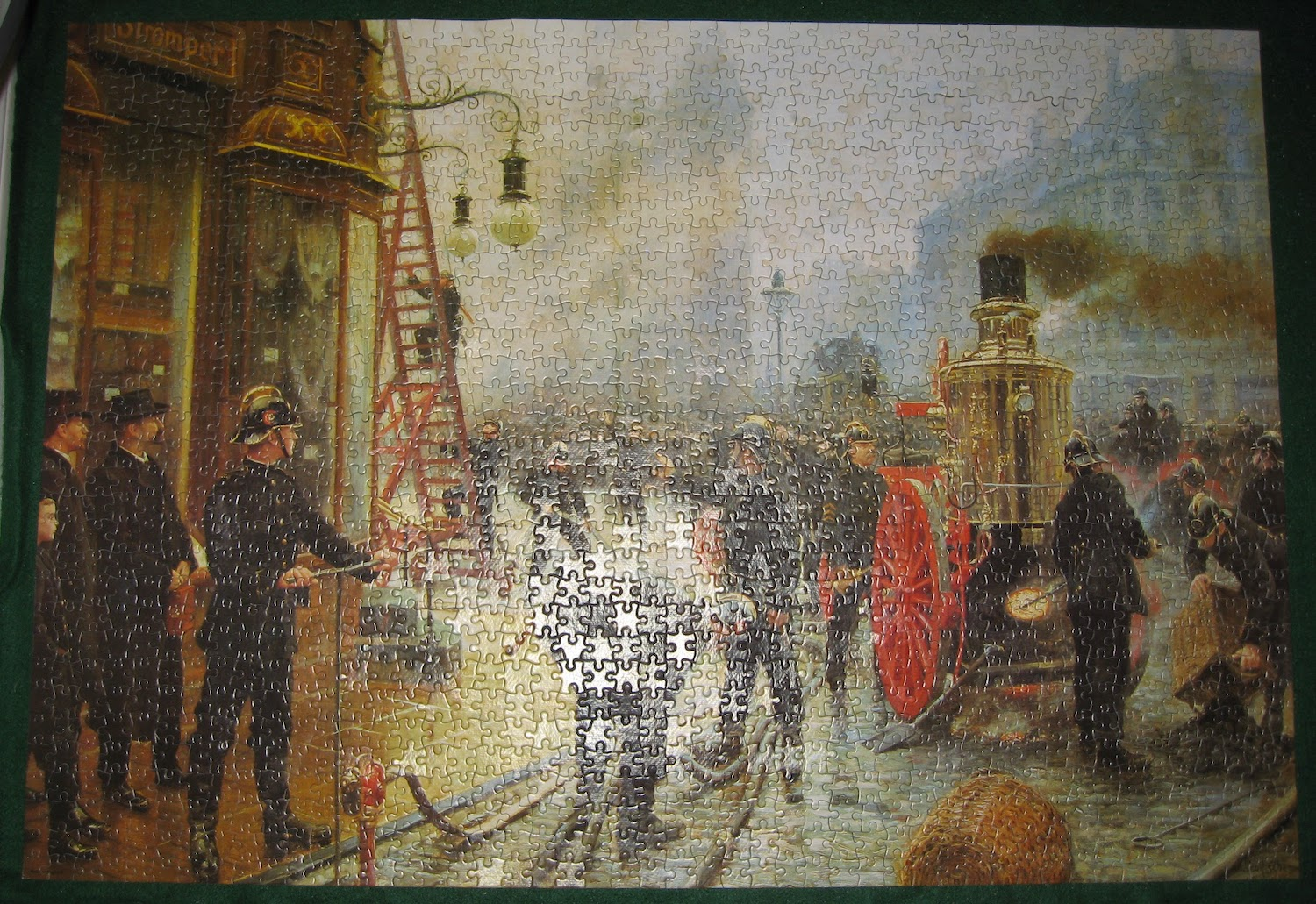 Image of the Assembled Puzzle 1500, Falcon, The Fire Brigade Turn Out in Kultorvet, Copenhagen