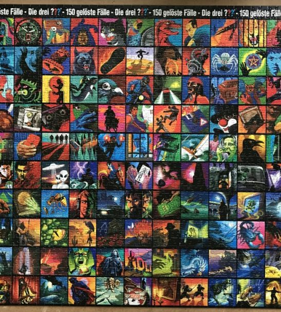 Image of the Puzzle 2000, Kosmos, Die drei ??? Cover-Collage-Puzzle, Complete, Picture of the Puzzle Assembled