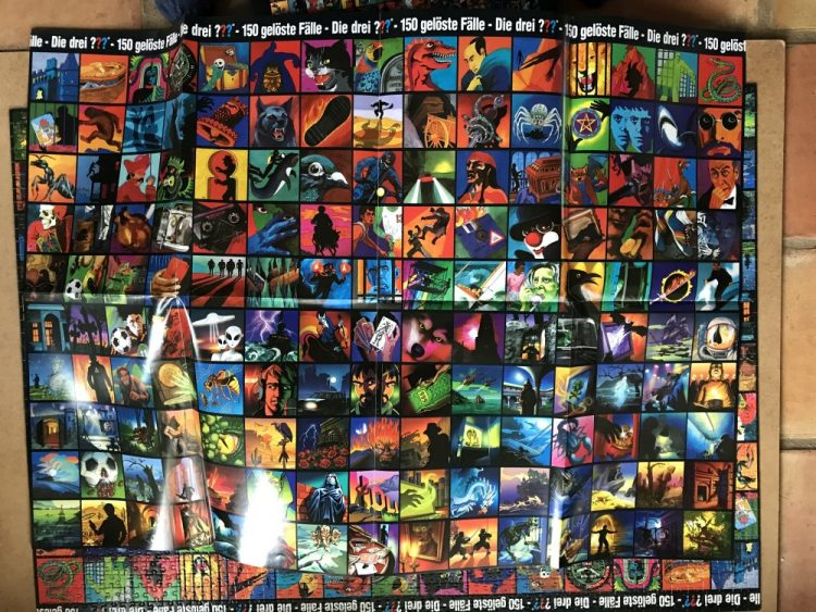 Image of the Puzzle 2000, Kosmos, Die drei ??? Cover-Collage-Puzzle, Complete, Picture of the Back