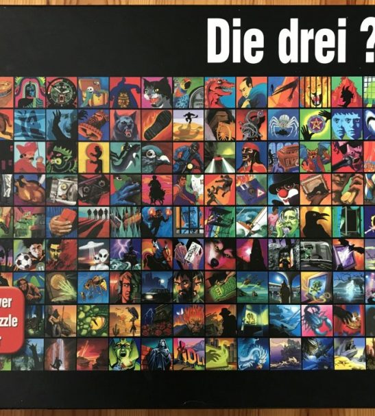 Image of the Puzzle 2000, Kosmos, Die drei ??? Cover-Collage-Puzzle, Complete, Picture of the Box