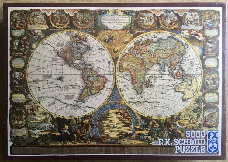 Image of the puzzle 5000, F.X. Schmid, World Map of 1708, Factory Sealed