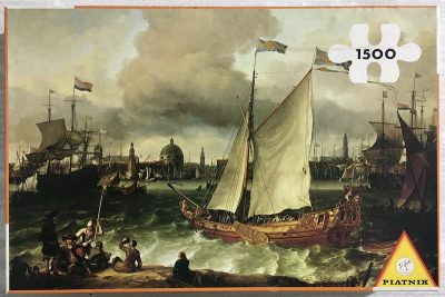 Image of the puzzle 1500, Piatnik, The Harbor of Amsterdam, Ludolf Bakhuizen, Sealed Bag, Picture of the box