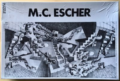 Image of the puzzle 1000, Selegiochi, House of Stairs, by Maurits Cornelis Escher, Picture of the box